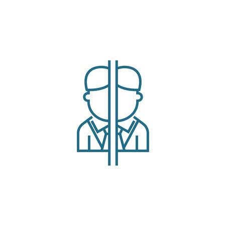 Ilustración de Conflict of interest line icon, vector illustration. Conflict of interest linear concept sign. - Imagen libre de derechos
