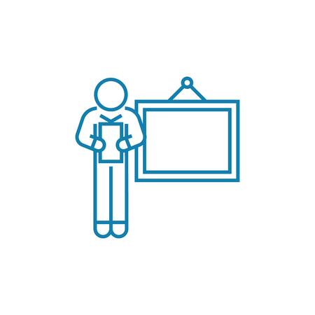 Illustration pour Delivering a presentation line icon, vector illustration. Delivering a presentation linear concept sign. - image libre de droit