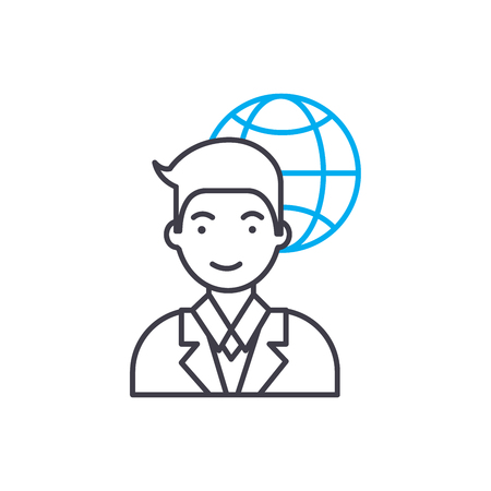 Illustration for International corporation employee line icon, vector illustration. International corporation employee linear concept sign. - Royalty Free Image