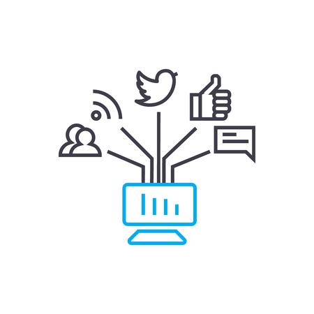 Ilustración de Online communications line icon, vector illustration. Online communications linear concept sign. - Imagen libre de derechos