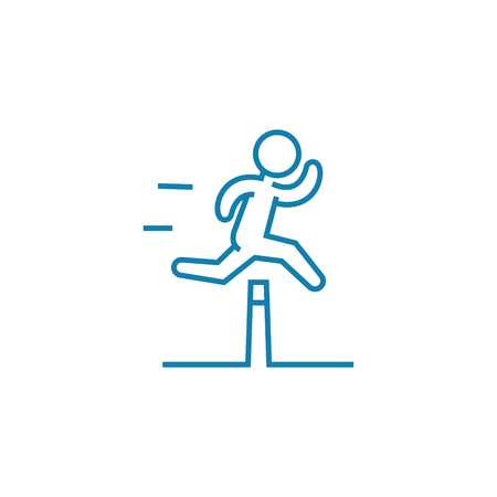 Illustration for Overcoming difficulties line icon, vector illustration. Overcoming difficulties linear concept sign. - Royalty Free Image