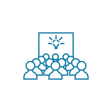 Ilustración de Project presentation line icon, vector illustration. Project presentation linear concept sign. - Imagen libre de derechos
