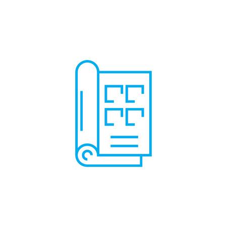 Ilustración de Reference book line icon, vector illustration. Reference book linear concept sign. - Imagen libre de derechos