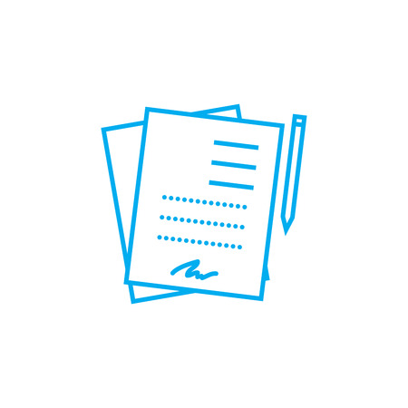 Ilustración de Signed documents line icon, vector illustration. Signed documents linear concept sign. - Imagen libre de derechos