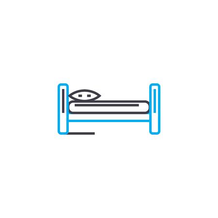 Ilustración de Single bed line icon, vector illustration. Single bed linear concept sign. - Imagen libre de derechos