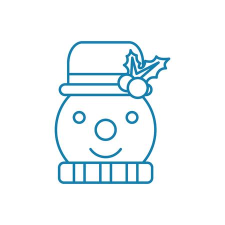 Illustrazione per Snowman line icon, vector illustration. Snowman linear concept sign. - Immagini Royalty Free