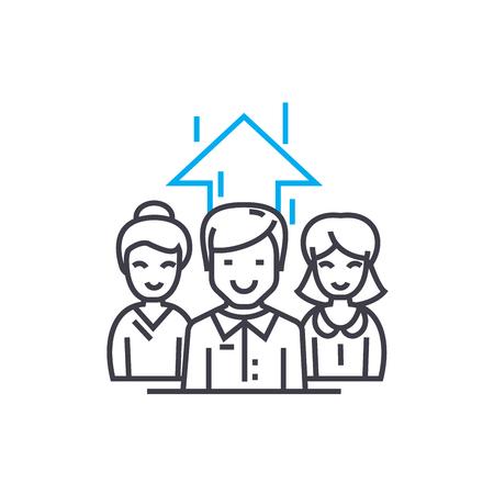 Illustration pour Staff motivating line icon, vector illustration. Staff motivating linear concept sign. - image libre de droit