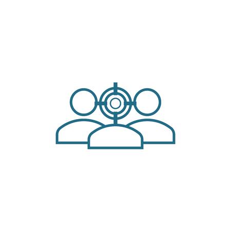 Ilustración de Target clientage identification line icon, vector illustration. Target clientage identification linear concept sign. - Imagen libre de derechos