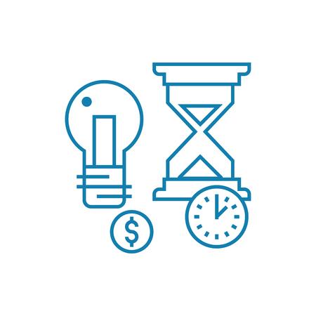 Illustrazione per Terms of project implementation line icon, vector illustration. Terms of project implementation linear concept sign. - Immagini Royalty Free