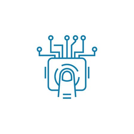 Illustration pour Touchscreen line icon, vector illustration. Touchscreen linear concept sign. - image libre de droit