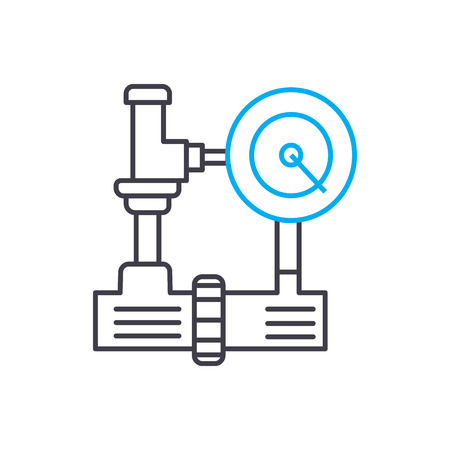 Ilustración de Water supply industrial system line icon, vector illustration. Water supply industrial system linear concept sign. - Imagen libre de derechos