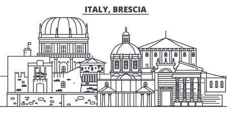 Illustration pour Italy, Brescia line skyline vector illustration. Italy, Brescia linear cityscape with famous landmarks, city sights, vector design landscape. - image libre de droit