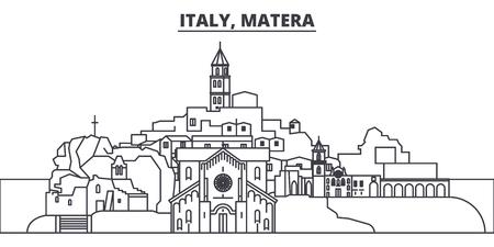 Ilustración de Italy, Matera line skyline vector illustration. Italy, Matera linear cityscape with famous landmarks, city sights, vector design landscape. - Imagen libre de derechos
