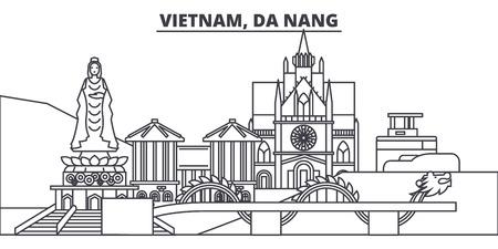 Illustration pour Vietnam, Da Nang line skyline vector illustration. Vietnam, Da Nang linear cityscape with famous landmarks, city sights, vector design landscape. - image libre de droit