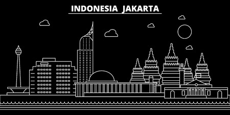 Illustration pour Jakarta silhouette skyline. Indonesia - Jakarta vector city, indonesian linear architecture, buildings. Jakarta line travel illustration, landmarks. Indonesia flat icon, indonesian outline design banner - image libre de droit