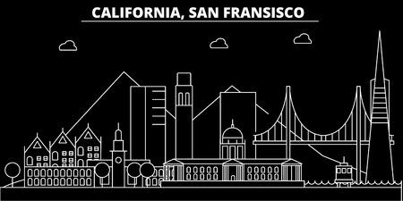 Illustration pour San Francisco silhouette skyline. USA - San Francisco vector city, american linear architecture, buildings. San Francisco line travel illustration, landmarks. USA flat icon, american outline design banner - image libre de droit