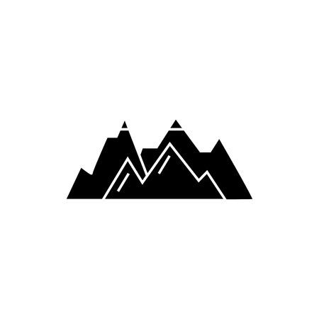 Illustration pour Mountains black icon, vector illustration. Mountains  concept sign - image libre de droit