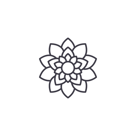 Illustration for Lotus flower line icon, vector illustration. Lotus flower flat concept sign. - Royalty Free Image