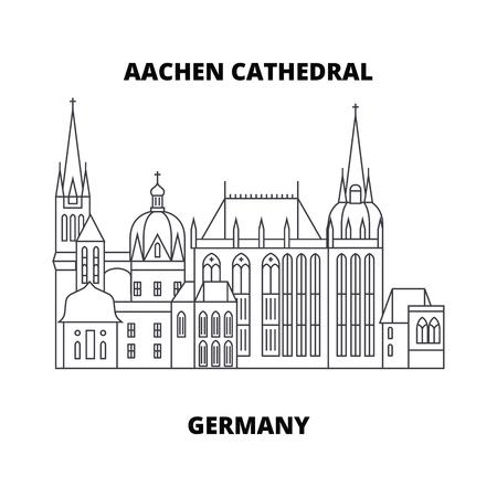 Ilustración de Aachen Cathedral, Germany line famous landmark, vector illustration. Aachen Cathedral, Germany linear concept icon, sign. - Imagen libre de derechos