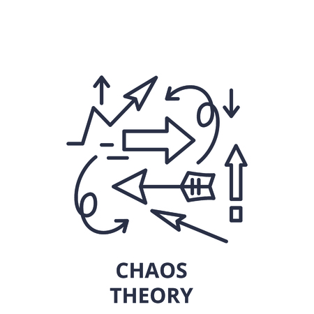 Illustrazione per Chaos theory line icon concept. Chaos theory vector linear illustration, sign, symbol - Immagini Royalty Free