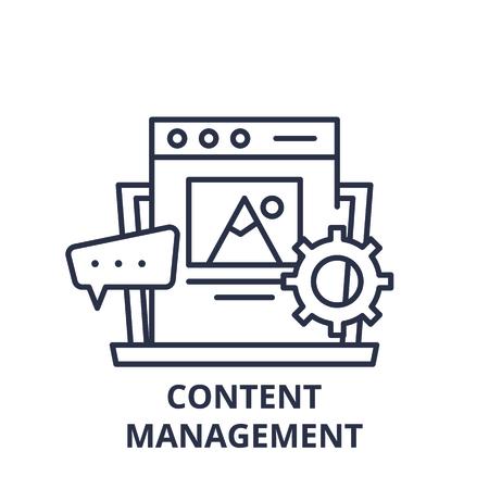 Ilustración de Content management line icon concept. Content management vector linear illustration, sign, symbol - Imagen libre de derechos