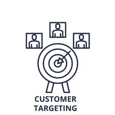 Illustration pour Customer targeting line icon concept. Customer targeting vector linear illustration, sign, symbol - image libre de droit
