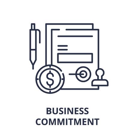 Illustration pour Business commitment line icon concept. Business commitment vector linear illustration, sign, symbol - image libre de droit