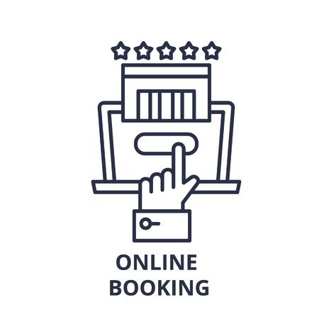 Ilustración de Online booking line icon concept. Online booking vector linear illustration, sign, symbol - Imagen libre de derechos