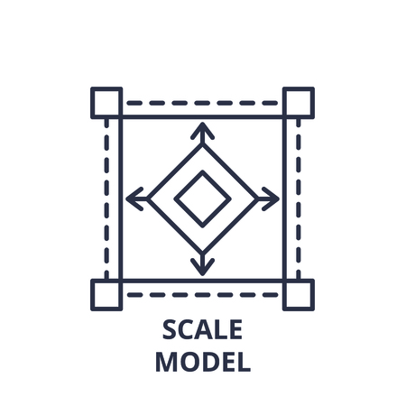 Ilustración de Scale model line icon concept. Scale model vector linear illustration, sign, symbol - Imagen libre de derechos