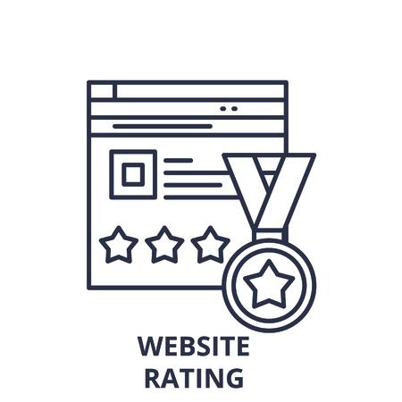 Ilustración de Webiste rating line icon concept. Webiste rating vector linear illustration, sign, symbol - Imagen libre de derechos