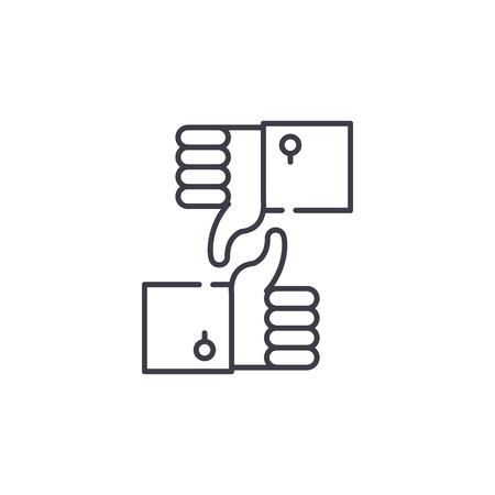 Illustration pour Approval and rejection line icon concept. Approval and rejection vector linear illustration, sign, symbol - image libre de droit
