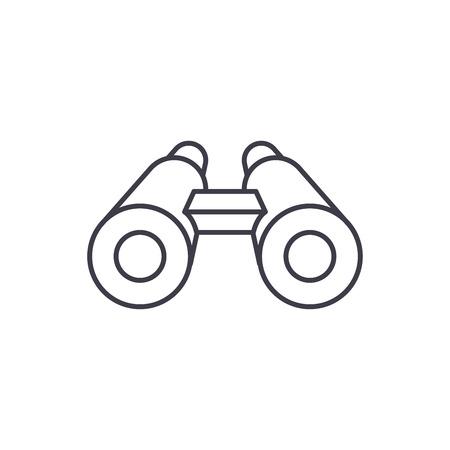 Illustration for Binoculars line icon concept. Binoculars vector linear illustration, sign, symbol - Royalty Free Image