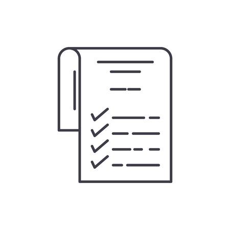 Photo pour Check list line icon concept. Check list vector linear illustration, sign, symbol - image libre de droit