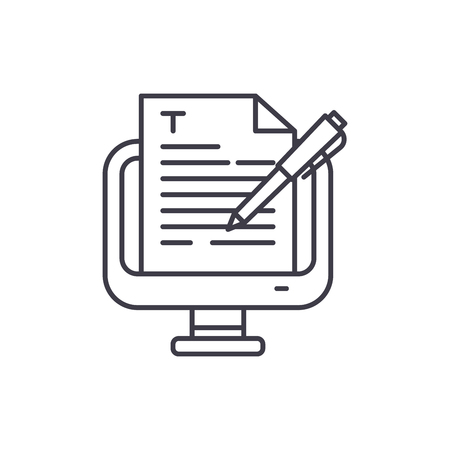 Ilustración de Copywriting line icon concept. Copywriting vector linear illustration, sign, symbol - Imagen libre de derechos