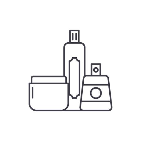 Illustration pour Cosmetics shop line icon concept. Cosmetics shop vector linear illustration, sign, symbol - image libre de droit