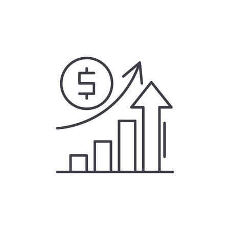 Illustration pour Economic growth line icon concept. Economic growth vector linear illustration, sign, symbol - image libre de droit