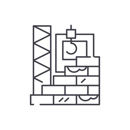 Illustration pour High rise construction line icon concept. High rise construction vector linear illustration, sign, symbol - image libre de droit