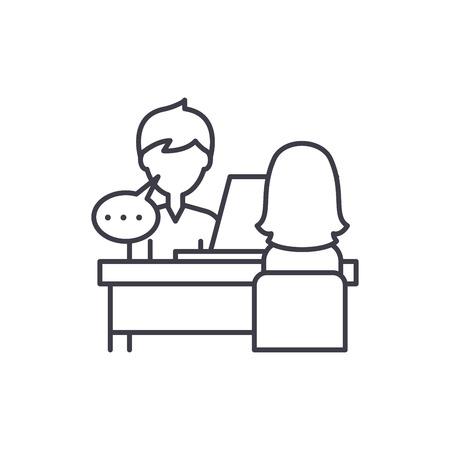 Illustration pour Individual consultation line icon concept. Individual consultation vector linear illustration, sign, symbol - image libre de droit
