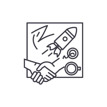 Illustration pour Innovative solutions line icon concept. Innovative solutions vector linear illustration, sign, symbol - image libre de droit