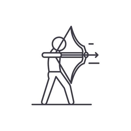 Illustration pour Purposefulness line icon concept. Purposefulness vector linear illustration, sign, symbol - image libre de droit