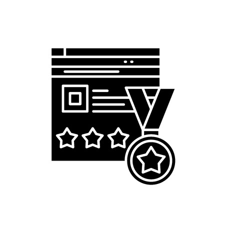 Ilustración de Webiste rating black icon, concept vector sign on isolated background. Webiste rating illustration, symbol - Imagen libre de derechos