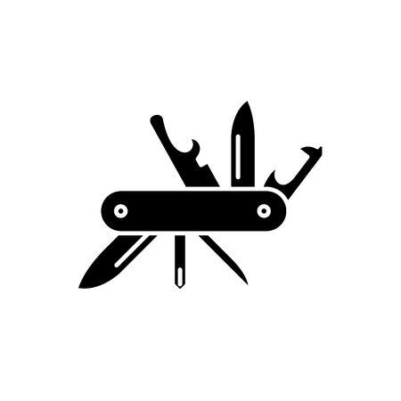 Ilustración de Multipurpose knife black icon, concept vector sign on isolated background. Multipurpose knife illustration, symbol - Imagen libre de derechos