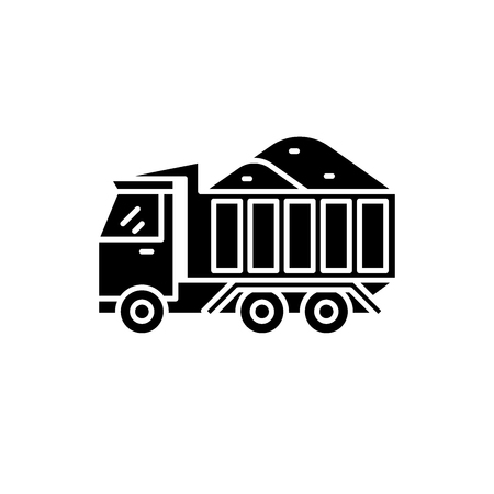 Ilustración de Dump track with sand black icon, concept vector sign on isolated background. Dump track with sand illustration, symbol - Imagen libre de derechos