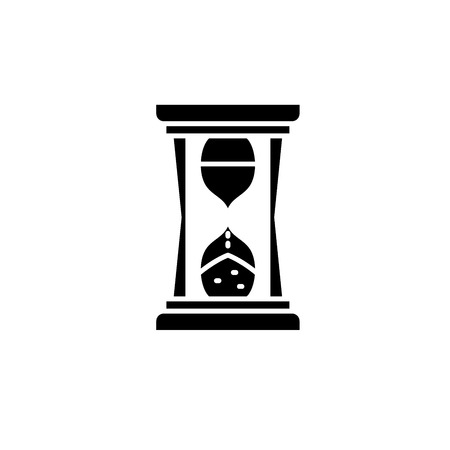 Ilustración de Hourglass time black icon, concept vector sign on isolated background. Hourglass time illustration, symbol - Imagen libre de derechos