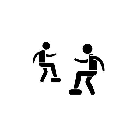 Ilustración de Cardio exercise black icon, concept vector sign on isolated background. Cardio exercise illustration, symbol - Imagen libre de derechos