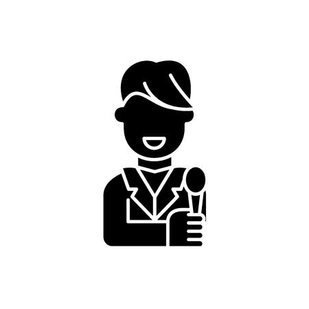 Illustration pour Tv host black icon, concept vector sign on isolated background. Tv host illustration, symbol - image libre de droit