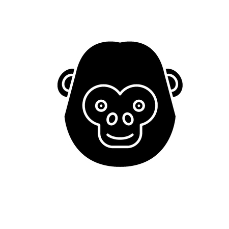 Illustration for Funny chimpanzee black icon, concept vector sign on isolated background. Funny chimpanzee illustration, symbol - Royalty Free Image