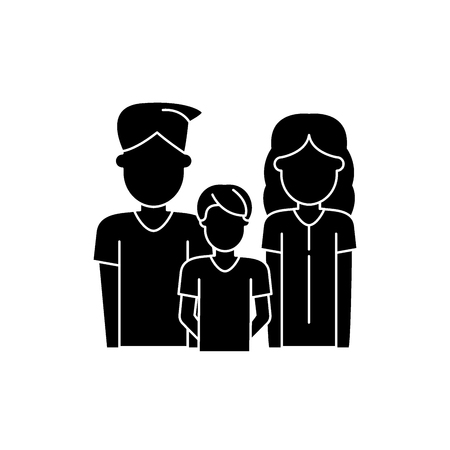 Illustrazione per Young family black icon, concept vector sign on isolated background. Young family illustration, symbol - Immagini Royalty Free