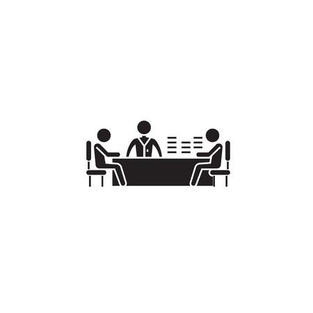 Illustration pour Brainstorming session black vector concept icon. Brainstorming session flat illustration, sign, symbol - image libre de droit