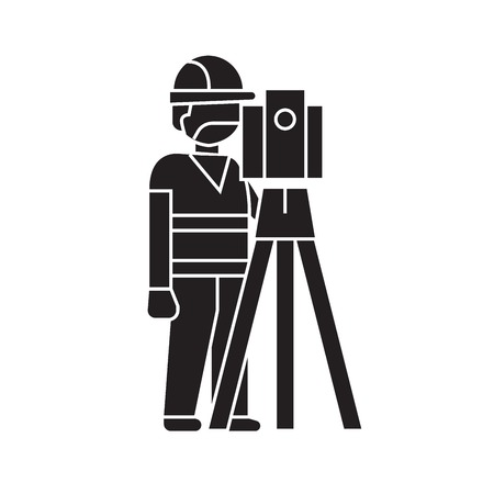 Illustration for Building surveyor black vector concept icon. Building surveyor flat illustration, sign, symbol - Royalty Free Image